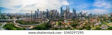 Scenic panoramic aerial view of Kuala Lumpur cityscape skyline, morning scene, Malaysia . #1040297290