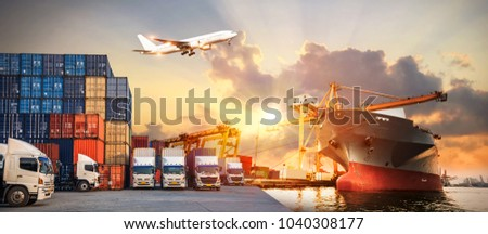 Logistics and transportation of Container Cargo ship and Cargo plane with working crane bridge in shipyard at sunrise, logistic import export and transport industry background #1040308177