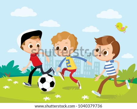Boys play football soccer on outskirts.     Forward  attacker with ball passes defender. Vector illustration with kids and summer landscape.