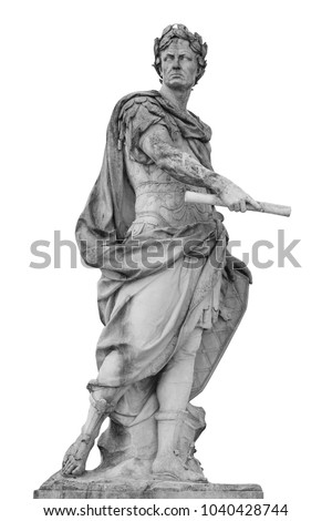 Roman emperor Julius Caesar statue isolated over white background #1040428744