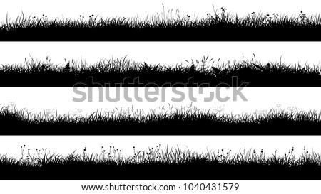 Set of horizontal banners of grassland meadow silhouettes with short grass.