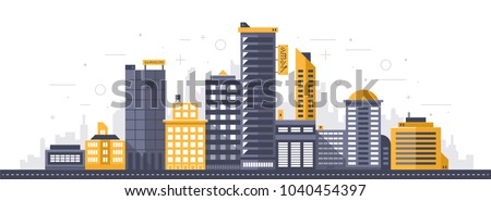 """City illustration. Towers and buildings in modern flat style on white background. Japanese signs """"Shop"""" and """"Electronics. Royalty-Free Stock Photo #1040454397"""