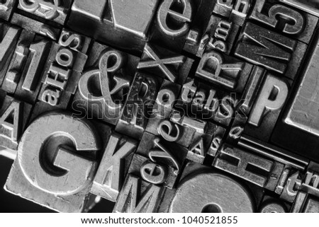 Metal Letterpress Types. A background from many historical typography letters in black and white with white background.  #1040521855