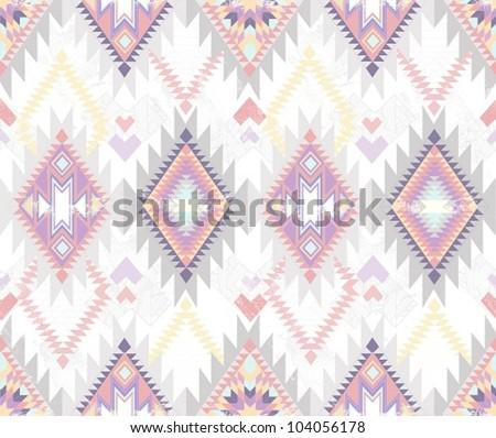 Abstract geometric seamless aztec pattern. Colorful ikat style pattern.