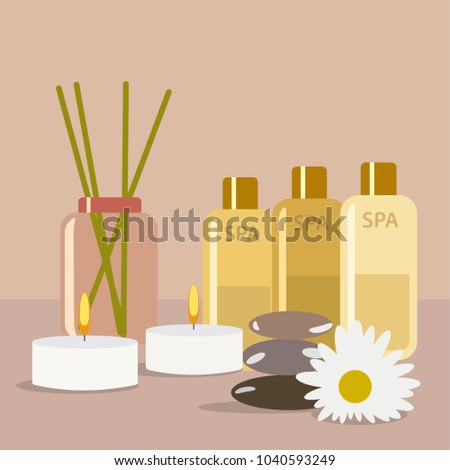 Aroma therapy set. A collection of home fragrances aroma candle, sticks and oil flat editable, clip art