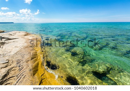 """The Coves"" on Lake Superior at Pictured Rocks National Lakeshore, located in Munising Michigan. The Coves are part of the Beaver Basin Lake area."