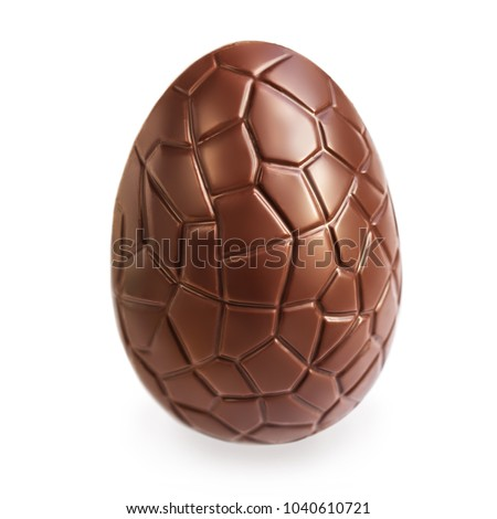Chocolate Easter  egg  isolated on white background, close up Royalty-Free Stock Photo #1040610721