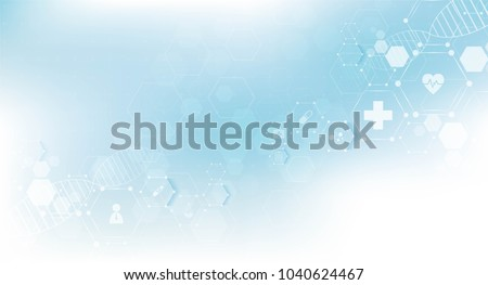 health care and science icon pattern medical innovation concept background vector design. Royalty-Free Stock Photo #1040624467