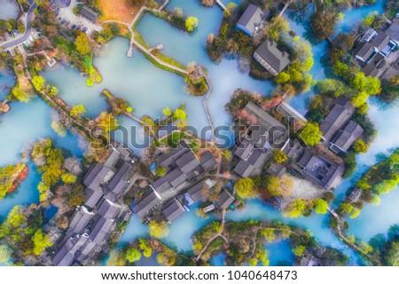 Zhejiang Hangzhou Xixi Wetland Jiangcun market unmanned aerial photography