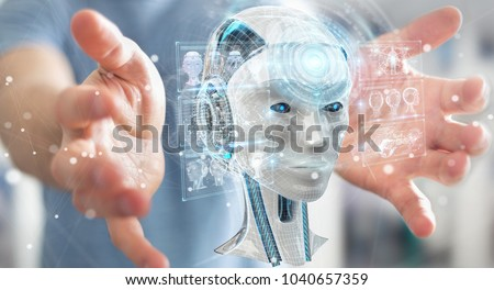 Businessman on blurred background using digital artificial intelligence interface 3D rendering #1040657359