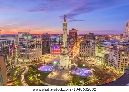 Indianapolis, Indiana, USA skyline over Soliders' and Sailors' Monument at dusk.