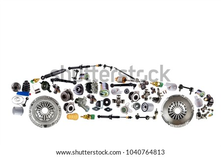 Passenger car assembled from new spare auto parts for shop aftermarket. Isolated on white background. #1040764813