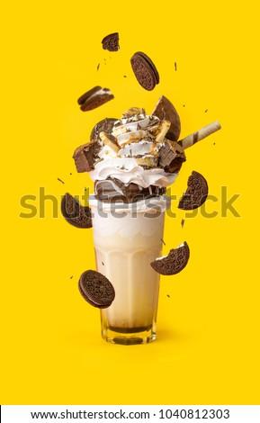 glasses milkshake with cookies #1040812303