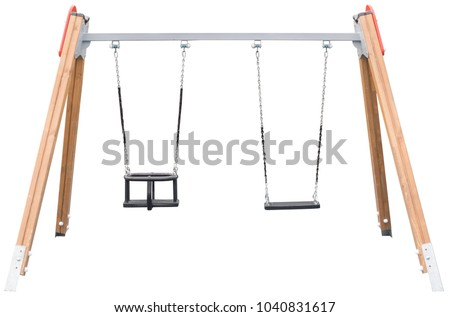 chain swings hanging on white background #1040831617