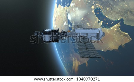 3D CG rendering of an artificial satellite. Elements of this Image Furnished By NASA. #1040970271