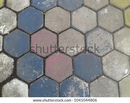 Hexagonal block brick pavement #1041044806