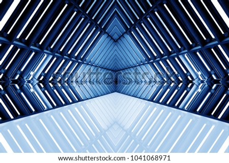 design of architecture metal structure similar to spaceship interior. abstract modern architecture in blue tone photo. #1041068971
