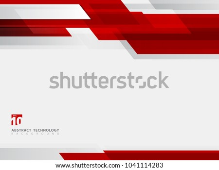 Abstract technology geometric red color shiny motion background. Template with header and footer for brochure, print, ad, magazine, poster, website, magazine, leaflet, annual report. Vector corporate Royalty-Free Stock Photo #1041114283