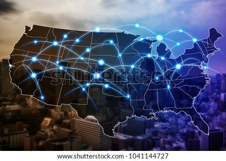 Communication network of United States of America. Royalty-Free Stock Photo #1041144727