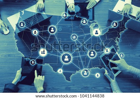 Computer network of United States of America. Royalty-Free Stock Photo #1041144838