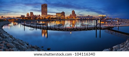Milwaukee  Panorama. Panoramic image of the Milwaukee lakefront during sunset.
