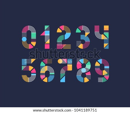 Vector creative color geometry shapes' numerals.  Royalty-Free Stock Photo #1041189751