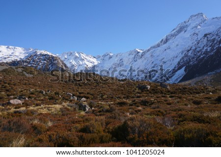 Beautiful scenery of mountaing cover with snow in Mount Cook National Park #1041205024