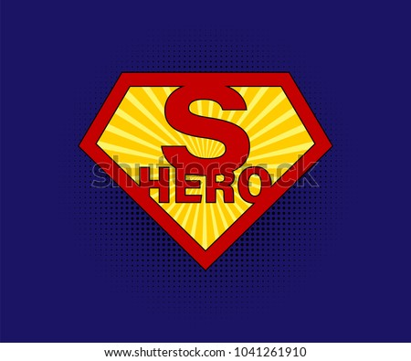 Sign Superhero on blue background with halftone in comic style. Superman sign