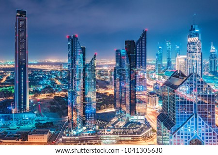 Spectacular skyline of a big modern city. Dubai, UAE. Aerial view on highways and skyscrapers. #1041305680
