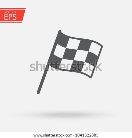 Checkered racing flag icon. Starting flag auto and moto racing. Sport car competition victory sign. Finishing winner rally illustration. Chequered racing flag on flagstaff. Black and white flag. #1041322885