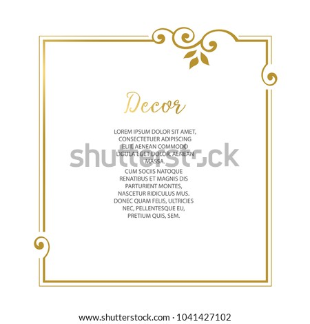 Vector decorative frame. Elegant element for design template, place for text. Lace decor for birthday and greeting card, wedding invitation. Royalty-Free Stock Photo #1041427102