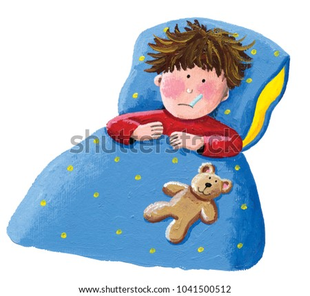 Acrylic illustration of the sick boy lying in bed