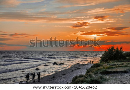 Sunset over west coast of Bornholm - bikers heaven #1041628462