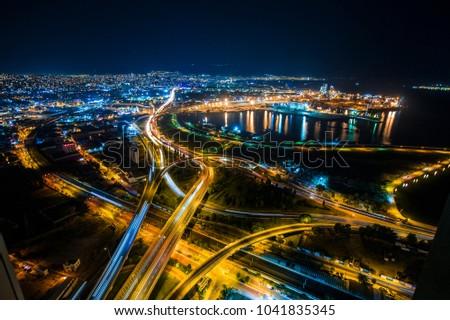 Izmir city at night. Long exposure of highway. #1041835345
