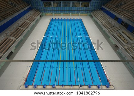 Baku, Baku / Azerbaijan - August 11, 2014: Huge Olympic Pool  #1041882796