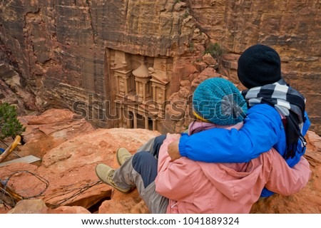 couple on the treasury from above, petra, jordan #1041889324