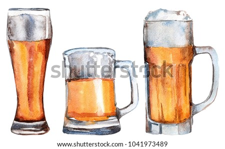 Hand drawn watercolor illustration of beer glasses. Nice set for bar or pub menu design.