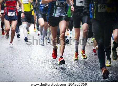 Marathon runners Royalty-Free Stock Photo #104205359