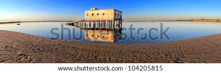 Panoramic of  historic life-guard building in Fuseta, at Ria Formosa conservation park, Algarve. Portugal #104205815