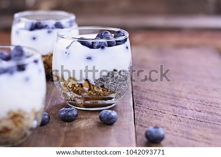 Kefir yogurt and chia parfaits. Kefir is one of the top health foods available providing powerful probiotics. Extreme shallow depth of field. #1042093771