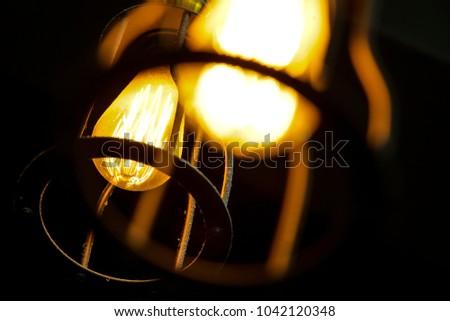 Close up. Selective focus. Vintage bulbs decor interiors #1042120348
