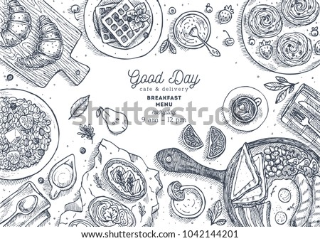 Breakfast top view illustration. Various food background. Engraved style illustration. Hero image. Vector illustration