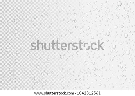 Vector Water drops on glass. Rain drops on transparent background. Royalty-Free Stock Photo #1042312561