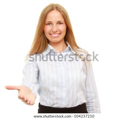 A businesswoman offering a handshake, isolated on white background #104237210