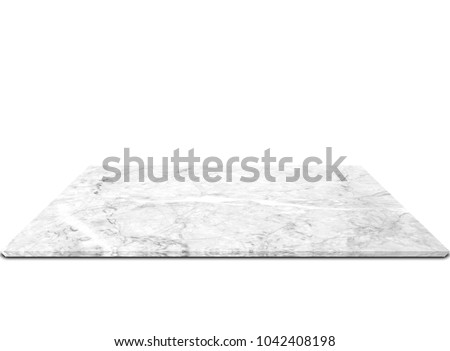 White marble counter Isolated on white background #1042408198