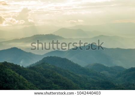 light at high view on mountain at mon jam chaingmai thailand #1042440403