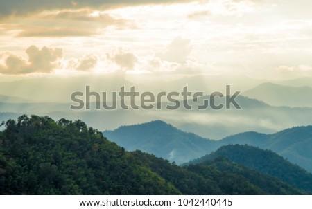 light at high view on mountain at mon jam chaingmai thailand #1042440445