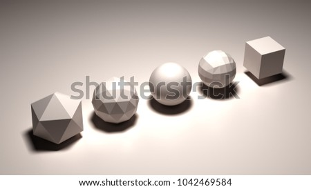 Sacred geometry figures 3d illustration #1042469584