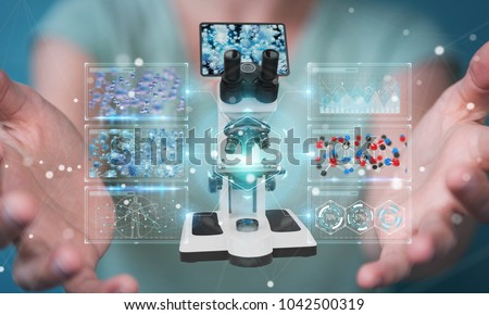 Businesswoman on blurred background using modern microscope with digital analysis 3D rendering #1042500319