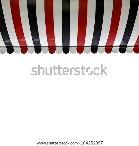 A colorful stripe canopy awning isolated against white. #104252057